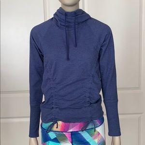 Lucy Blue Cowl Vertical Drawstrings Sweatshirt